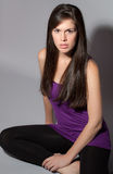 Pretty Woman in Purple Top and Leggings Royalty Free Stock Photos