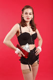 Pretty woman with purse Royalty Free Stock Image