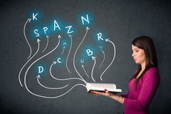 Pretty woman reading a book while multiple choices are coming ou Stock Photography