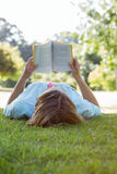 Pretty woman reading book in park Stock Photography