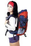 Pretty woman ready to hike Royalty Free Stock Image