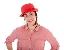 Pretty woman with red bowler, isolated over white stock photos