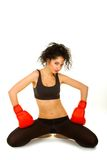 Pretty woman with red boxing gloves Stock Images