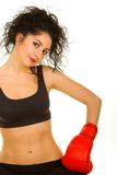 Pretty woman with red boxing gloves Stock Photos