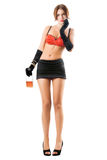Pretty woman in red bra and black skirt. With a bottle Royalty Free Stock Images