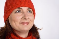 Pretty Woman with Red Cap Stock Photo