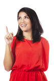 Pretty woman with red clothes having idea Stock Image