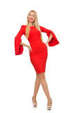 Pretty woman in red dress isolated on white Royalty Free Stock Image