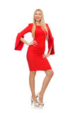 Pretty woman in red dress isolated on white Royalty Free Stock Images