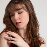 Pretty Woman With Red Lips and Nails Royalty Free Stock Photo