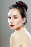 Pretty woman with red lipstick Royalty Free Stock Photography