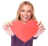 Pretty woman with red paper heart Stock Photography