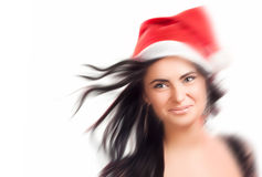 Pretty woman in red santa claus hat Royalty Free Stock Photos