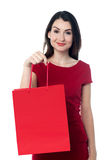 Pretty woman with a red shopping bag. Beautiful woman showing a red shopping bag Royalty Free Stock Images