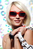 Pretty  woman with red sunglasses Stock Images
