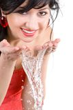 Pretty woman refreshing the face Stock Image