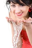 Pretty woman refreshing the face Royalty Free Stock Photography
