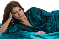 Pretty woman relax green robe Royalty Free Stock Photos