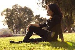 Pretty woman relax outdoor park. Portrait pretty women relax outdoor park Royalty Free Stock Photos