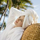 Pretty woman relaxing. royalty free stock photos
