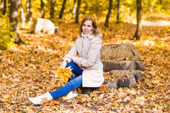 Pretty woman relaxing in the autumn park Royalty Free Stock Photo