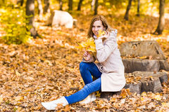 Pretty woman relaxing in the autumn park Stock Photography