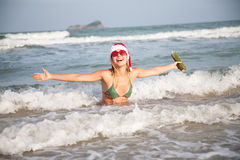 Pretty Woman Relaxing On The Beach. Christmas Collection Royalty Free Stock Photos