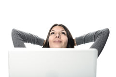 Pretty Woman Relaxing with Computer In Front Stock Photos