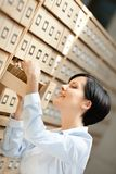Pretty woman researches something in card catalog Stock Images