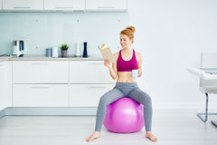 Pretty Woman Resting after Fitness Workout at Home stock image