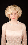 Pretty woman in retro dress Stock Photos