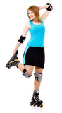 Pretty woman on roller skates Stock Photography