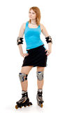 Pretty woman on roller skates. Beautiful woman in roller skates isolated on white stock image
