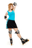 Pretty woman on roller skates. Beautiful woman in roller skates isolated on white royalty free stock photography