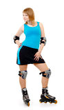 Pretty woman on roller skates. Beautiful woman in roller skates isolated on white stock images