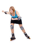 Pretty woman on roller skates. Beautiful woman in roller skates isolated on white stock photos