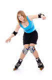 Pretty woman on roller skates. Woman in roller skates isolated on white royalty free stock photos