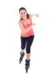 Pretty woman on roller skates isolated on white Royalty Free Stock Photo