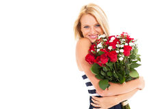 Pretty woman roses Stock Images