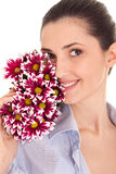 Pretty woman's face with flovers Stock Photos