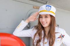 Pretty woman sailor Stock Photo