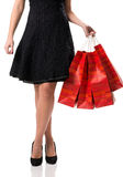 Pretty woman and  sale, detail photo, female legs with sale bags Royalty Free Stock Photo