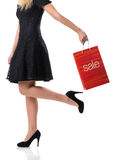 Pretty woman and  sale, detail photo, female legs with sale bags Stock Image