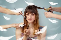 Pretty woman at salon with ethereal concept stock images