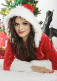 Pretty woman in Santa costume Royalty Free Stock Photos