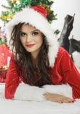 Pretty woman in Santa costume Royalty Free Stock Photos