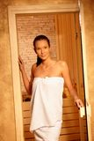 Pretty woman after sauna Stock Images