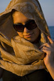 Pretty woman with scarf Stock Photography