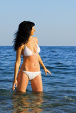 Pretty woman on the sea Royalty Free Stock Photos