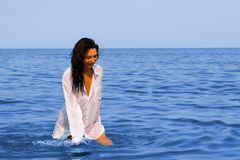 Pretty woman on the sea Royalty Free Stock Images